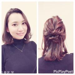 ロブ ハーフアップ ヘアアレンジ エアリー ヘアスタイルや髪型の写真・画像