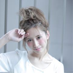 ガーリー ヘアアレンジ ポニーテール ゆるふわ ヘアスタイルや髪型の写真・画像