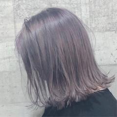 パープル バイオレットアッシュ ナチュラル ミディアム ヘアスタイルや髪型の写真・画像