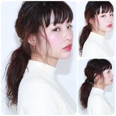 黒髪 簡単ヘアアレンジ ショート セミロング ヘアスタイルや髪型の写真・画像