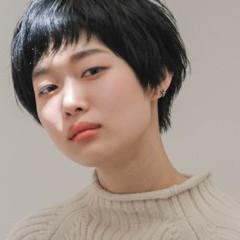 ショート マッシュ 暗髪 かわいい ヘアスタイルや髪型の写真・画像