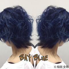 ストリート ネイビーブルー アウトドア ショート ヘアスタイルや髪型の写真・画像