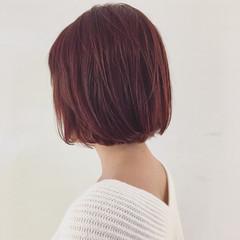 レッド イルミナカラー ガーリー 外国人風 ヘアスタイルや髪型の写真・画像