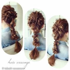 編み込み ストリート ヘアアクセ ヘアアレンジ ヘアスタイルや髪型の写真・画像