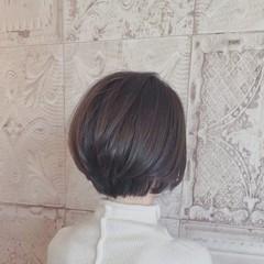 アッシュグレージュ ボブ ショートヘア 小顔ヘア ヘアスタイルや髪型の写真・画像