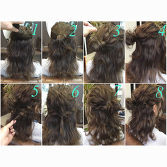 ゆるふわ ハーフアップ ミディアム ヘアアレンジ ヘアスタイルや髪型の写真・画像