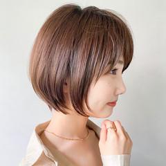 ショートボブ 丸みショート 簡単ヘアアレンジ ベリーショート ヘアスタイルや髪型の写真・画像