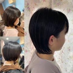 ショート ガーリー 切りっぱなしボブ ショートヘア ヘアスタイルや髪型の写真・画像