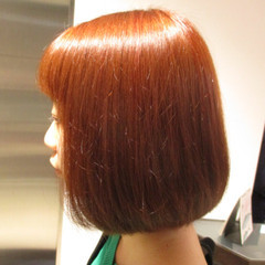 ボブ 艶髪 イルミナカラー オレンジ ヘアスタイルや髪型の写真・画像