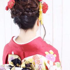着物 成人式 セミロング ヘアアレンジ ヘアスタイルや髪型の写真・画像