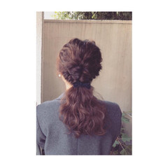ショート セミロング ハーフアップ 簡単ヘアアレンジ ヘアスタイルや髪型の写真・画像