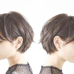 パーマ デート ショート 黒髪 ヘアスタイルや髪型の写真・画像