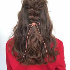 大人かわいい 編みおろし ヘアアレンジ ガーリー ヘアスタイルや髪型の写真・画像