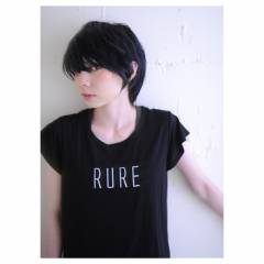 黒髪 ショート ストリート ウェットヘア ヘアスタイルや髪型の写真・画像