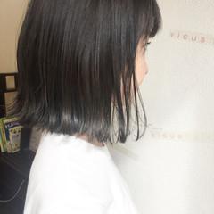 秋 黒髪 切りっぱなし アッシュ ヘアスタイルや髪型の写真・画像