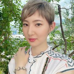 デザインカラー ナチュラル ブリーチカラー ショート ヘアスタイルや髪型の写真・画像