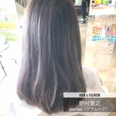 グレーアッシュ モード ダブルカラー セミロング ヘアスタイルや髪型の写真・画像