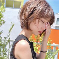 ナチュラル ショート パーマ ヘアアレンジ ヘアスタイルや髪型の写真・画像