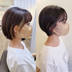 インナーカラー モード コンパクトショート ショートボブ ヘアスタイルや髪型の写真・画像