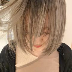 ボブ ナチュラルベージュ ヌーディベージュ シアーベージュ ヘアスタイルや髪型の写真・画像
