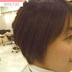 卵型 丸顔 ナチュラル ショート ヘアスタイルや髪型の写真・画像