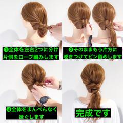 デート セミロング 簡単ヘアアレンジ ヘアアレンジ ヘアスタイルや髪型の写真・画像
