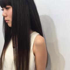 黒髪 モード ロング グラデーションカラー ヘアスタイルや髪型の写真・画像
