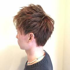レッド ショート メッシュ ボーイッシュ ヘアスタイルや髪型の写真・画像