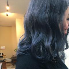 ブルー ブルージュ ガーリー 波ウェーブ ヘアスタイルや髪型の写真・画像
