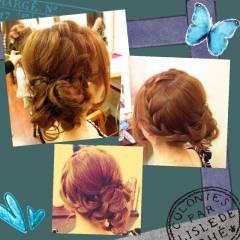 結婚式 ナチュラル ヘアアレンジ 三つ編み ヘアスタイルや髪型の写真・画像