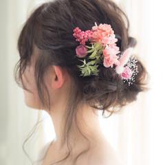 セミロング 結婚式 卒業式 ナチュラル ヘアスタイルや髪型の写真・画像