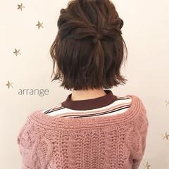 ショート 簡単ヘアアレンジ 切りっぱなし ナチュラル ヘアスタイルや髪型の写真・画像