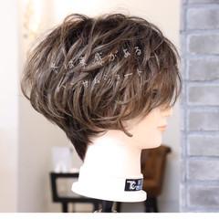 アッシュ ハンサムショート モード ショートボブ ヘアスタイルや髪型の写真・画像
