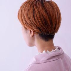 オレンジ かっこいい ショート ブリーチ ヘアスタイルや髪型の写真・画像