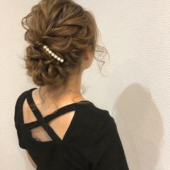 ヘアアレンジ 結婚式 ミディアム アップスタイル ヘアスタイルや髪型の写真・画像