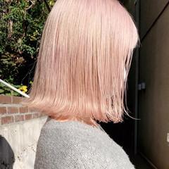 ピンクカラー ガーリー ブロンド ブロンドカラー ヘアスタイルや髪型の写真・画像