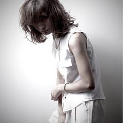 ミディアム ストリート 大人女子 うざバング ヘアスタイルや髪型の写真・画像