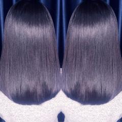 セミロング パーマ ナチュラル ストレート ヘアスタイルや髪型の写真・画像