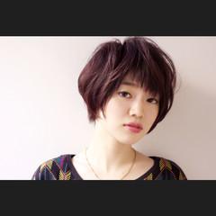 前髪あり 大人かわいい ショート アシメバング ヘアスタイルや髪型の写真・画像