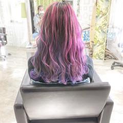 ミディアム ストリート バレイヤージュ ブリーチ ヘアスタイルや髪型の写真・画像
