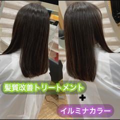 ロング 髪質改善カラー うる艶カラー 髪質改善トリートメント ヘアスタイルや髪型の写真・画像
