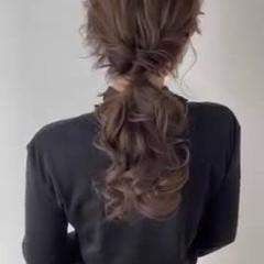 くるりんぱ ロング ヘアアレンジ ナチュラル ヘアスタイルや髪型の写真・画像
