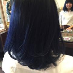 ネイビー ボブ グラデーションカラー ブルー ヘアスタイルや髪型の写真・画像
