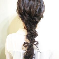ポニーテール ショート 簡単 編み込み ヘアスタイルや髪型の写真・画像