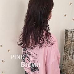 ナチュラル セミロング ピンクブラウン ヘアスタイルや髪型の写真・画像