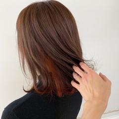 ボブ デート オフィス インナーカラー ヘアスタイルや髪型の写真・画像