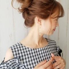 セミロング 簡単ヘアアレンジ セルフヘアアレンジ ガーリー ヘアスタイルや髪型の写真・画像