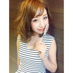夏 ヘアアレンジ ブラウン フェミニン ヘアスタイルや髪型の写真・画像