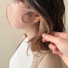 インナーカラー ミディアム 波巻き ナチュラル ヘアスタイルや髪型の写真・画像