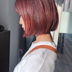 ピンクパープル 切りっぱなしボブ チェリーレッド ナチュラル ヘアスタイルや髪型の写真・画像